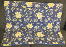 Laura Ashley Emilie Standard Pillow Sham Quilted Blue Yellow Floral EUC