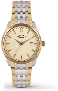 Rotary Mens Two Tone Champagne Dial Watch GB03851/03 With Stainless Steel Band