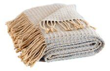 Alpaca throw, blanket, thick grey beige soft honeycomb waffle textured, two tone