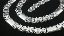 Königskette Flach Massiv echt Silber 925 Sterlingsilber 9,6 mm Halskette 60 cm