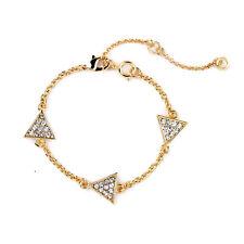 Bracelet Doré Art Deco Triangle Cristal Vintage Mariage Fin Original CT3