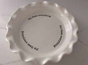 """Mud Pie Circa Pie Plate """"Pie Fixes Everything"""""""