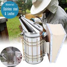 Bee Hive Smoker With Heat Shield Calming Beekeeping Equipment Steel Leather