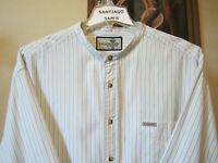 2XL 18.5-35/36 PREMIUM COTTON DOCKERS STRIPE BANDED COLLARLESS WESTERN SHIRT