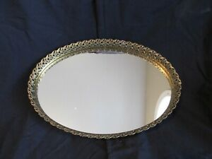 Vintage Oval Shaped Vanity Dresser Mirrored Tray Gold Tone Filigree