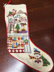 Vtg Needlepoint Christmas Stocking Imperial Elegance 1991 Santa Country Store