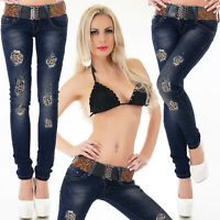 Women/'s Black Wet Look Bootcut Jeans Hipster Jeans Pants Belt included Size 6-14