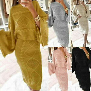 Women Ladies Chunky Cable Knitted Loungewear Baggy Two Piece Top Skirt Suit Set