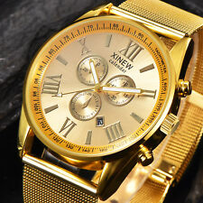 Luxus Herren Datum Edelstahl Uhr Golden Römische Ziffern Analog Quarz Armbanduhr