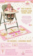 Girl 1st One Birthday High Chair Kit Pink Gold Party Hat Flags First Decoration