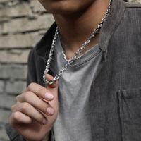 Fashion Men Women Necklace Twist Rope Chain Stainless Steel Choker Collar Silver