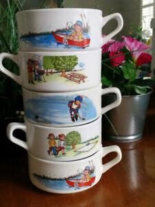 Lot of 5 Vintage CAMPBELLS SOUP KIDS Handled Bowl Mug FISHING HOCKEY BBQ PICNIC