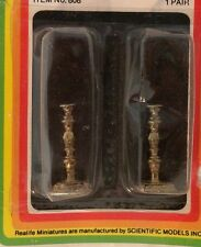 1/12 TWO 1 IN MINI CANDLESTICKS BRASS PLATED NEW OLD STOCK DOLLHOUSE FURNITURE
