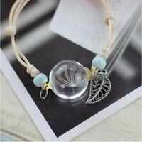 Fashion Women Lucky Flower Bracelet Hand Dandelion Dried Glass Bangle Jewelry