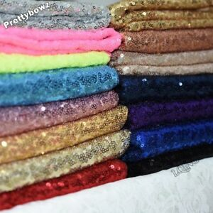 """Sequin Fabric Novelty Sparkly Shiny Bling Glittery 10""""x 14"""" Piece Material Cloth"""