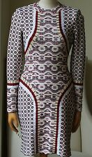 AZZEDINE ALAIA PATTERNED LONG-SLEEVE BODYCON DRESS FR 38 UK 10