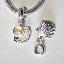 SEA Shell W. Genuine Pearl-Solido 925 argento Sterling Charm Bead Europeo/Ciondolo