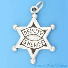 DEPUTY SHERIFF LAW POLICE OFFICER STAR BADGE .925 Solid Sterling Silver Charm