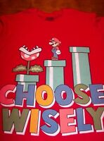 VINTAGE STYLE Nintendo SUPER MARIO BROS. CHOOSE WISLEY T-Shirt MEDIUM NEW