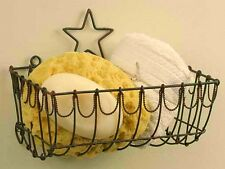Twisted Industrial Wire Wall Basket Soap Sponge Holder Rustic Classic Barn Star