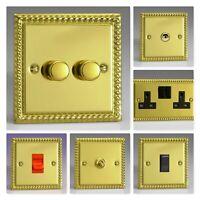Varilight Georgian Roped Polished Brass XGB Light Switch Socket Dimmer Toggle