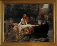 Classic Framed John William Waterhouse The Lady of Shalott Giclee Canvas Print