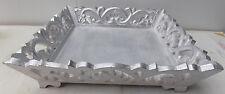 Vassoio in legno traforato color argento barocco shabby cm35x35x8 centrotavola
