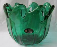 Genuine Art Glass Bowl Murano Emerald Green Color Italy by White Cristal No 263