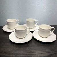 Mikasa Italian Countryside Set Of 4 Tea Cups & Saucers Ivory White DD900