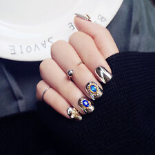 24pcs Silver Royal Style 3D  False Nail Tip With Rhinestone Gold Copper Pattern