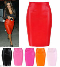 Faux Leather Hand-wash Only Knee-Length Solid Skirts for Women