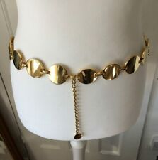 Retro Style Gold Disc Chain Link Belt Heavy Adjustable 35in & Extender Go Go Mod