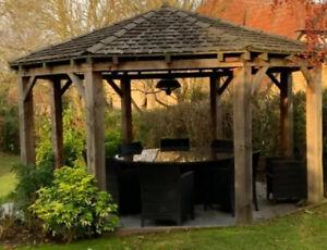 Octagonal Oak Framed gazebo    4.6m diameter perfect for entertaining