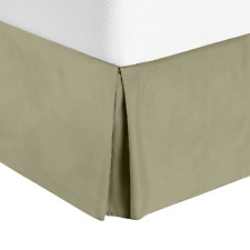 Solid Luxury Pleated Tailored Bed Skirt - 14� Drop Dust Ruffle, King -Sage Green