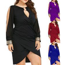 Women Long Sleeve Bodycon Sequin V Neck Hollow Out Split Party Dress Plus Size
