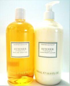 Crabtree & Evelyn SUMMER HILL Shower Gel &, Body Lotion, JUMBO 16.9 oz, NEW x 2