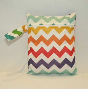 Small Wet Bag for Nappies, Breast Pads, Wipes, Cloth Pads - Rainbow Zig Zags