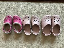 Girls lot 3 pink Crocs 10/11 12/13 1/3