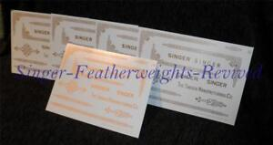 SET OF (5) SINGER FEATHERWEIGHT GOLD  ***PRE TRIMMED*** DECALS FOR  221