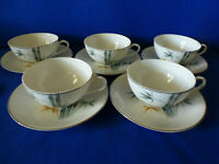 Vtg.MWA Meijyo Porcelain Tea Cups & Saucers Decorated W/Bamboo & Silver Set of 5