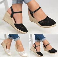 WOmen's High Wedge Heels Espradrilles Platform Buckle Round toe Sandals Shoes