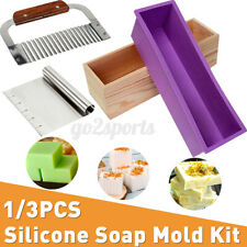 Wood Loaf Mold Soap Mold Stainless Cutter with Rectangular Silicone Cake Making