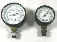"Marsh 150 160 PSI kPa Air Pressure Gauge Lot of 2 3/8"" Male Brass Fitting USA"
