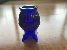 VINTAGE COLBALT BLUE GLASS POT BELLY STOVE TOOTHPICK HOLDER