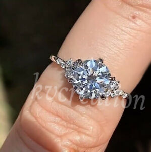 925 Sterling Silver 2.86 Ct White Round Moissanite Engagement Anniversary Ring