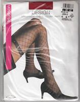 Hudson Design Strumpfhose Netz-Overknee Look unitransparent Gürtelimitation rot