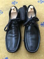 Gucci Mens Shoes Black Leather Lace Up UK 8 US 9 EU 42 Boating Deck Web White