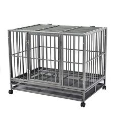 Heavy Duty Black 42'' Dog Crate Cage Kennel Metal Wire Pet Playpen w/ Tray