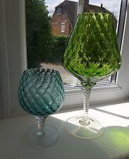 Two vintage Czech Sklo union 'optic' pattern brandy glass vases.
