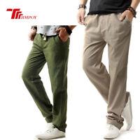 Men's Casual Linen Trousers Slim Fit Breathe Drawstring Slacks Yoga Pants